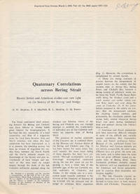 Quaternary Correlations Across Bering Strait (Offprint, Science, March 5, 1965)