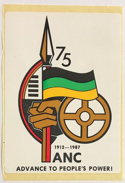 n.p.: ANC, 1987. 3x4.25 inch sticker, very good. Obtained from the ANC delegation at the 1987 World ...
