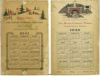 A pair of advertising calendars issued by Charlottesville's Michie Company, Printers, presumably iss...