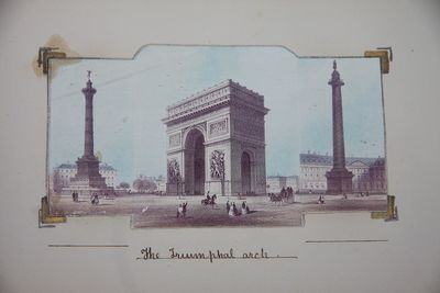 1869. Full Leather. Very Good. Oblong, 16 by 24.5 cm. 24 mounted color engraved views of Paris. Esse...