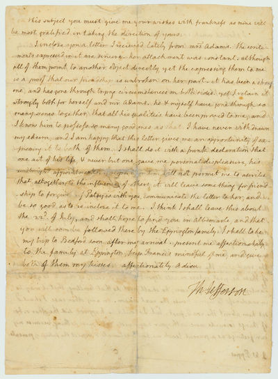 A remarkable, poignant letter from a crucial chapter in Jefferson's life, his presidency, anticipati...