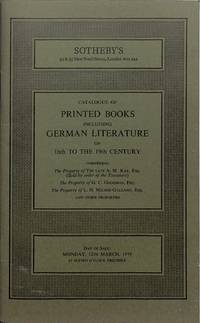 Sale 12 March 1979: Printed Books incl. German Literature of 16th to the  19th century.