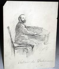 image of Vladimir De Pachmann, an Ink drawing of Him in 1892 By Frank Holme [John Francis Holme]