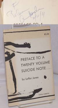image of Preface to a twenty volume suicide note ... by Le Roi Jones [signed]