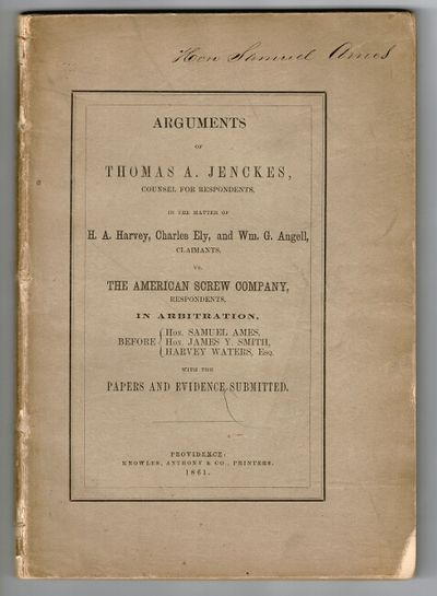 Providence: Knowles, Anthony & Co., printers, 1861. First edition, 8vo, pp. 113, ; top corners lost ...