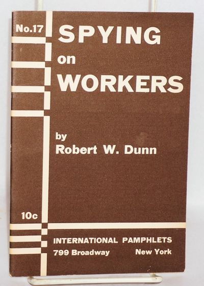 New York: International Pamphlets, 1933. Pamphlet. 31p., in brown stapled wraps. Slight wear to corn...