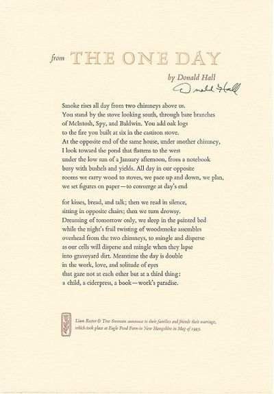 New Hampshire: Eagle Pond Farm, 1993. 1st edition, privately printed broadside. Specially signed by ...