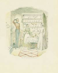 A highly finished pencil and watercolor drawing of a kitchen scene