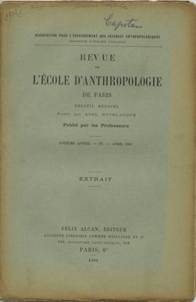 Paris: Félix Alcan, Éditeur, 1901. Offprint. Paper wrappers. A good copy with edgeworn wrappers ne...