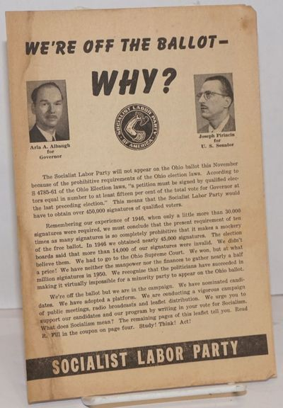 Cleveland, OH: Socialist Labor Party, 1950. Four panel brochure, paper browned and dampstained along...