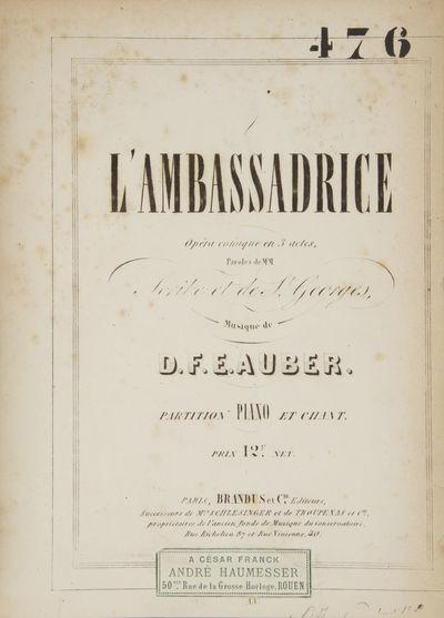 Paris: Brandus et Cie , 1851. Quarto. Quarter dark green morocco with marbled boards, spine with com...