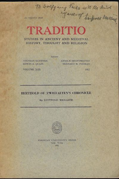 NY: Fordham University Press, 1957. First Edition. Signed presentation from Wallach on the title pag...