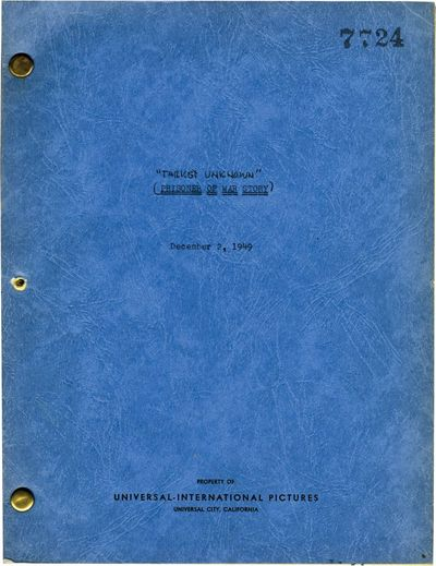 Universal City, CA: Universal Pictures, 1949. Draft script for the 1951 film. In 1944, an American b...