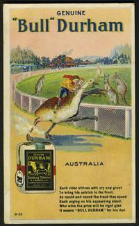 image of Bull Durham tobacco advertising postcard, with kangaroos