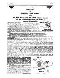 MILLERS FALLS No. 888 POWER UNIT; No. 0888 Electric Sander, No. 1888 Electric Drill - all MDL A...
