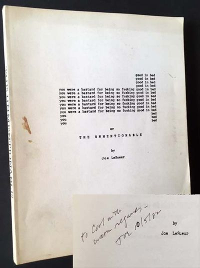 New York: Chelsea Copy Press, 1982. Original wraps. Very Good. INSCRIBED BY JOE LESUEUR IN YEAR-OF-P...