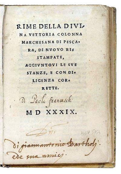 Rime della Divina Vettoria Colonna...