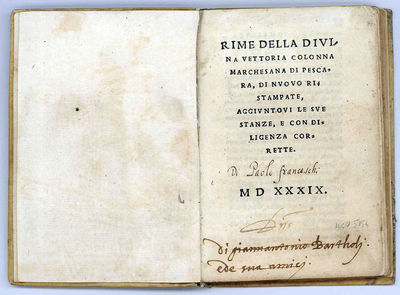 8vo (141x95 mm); later stiff vellum, ink title on spine; (47), (1 blank) ll. Italic type. Ownership'...