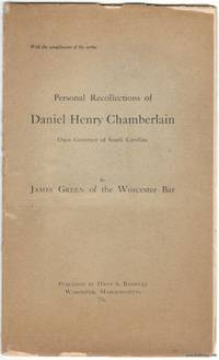 image of Personal Recollections of Daniel Henry Chamberlain Once Governor of South  Carolina