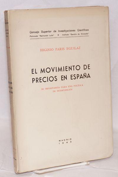 Madrid: Instituto de Economía Sancho de Moncada, 1943. 165p., unopened, 10x7 inch rubricated wraps,...