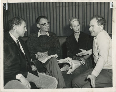 N.p.: N.p., 1956. Vintage photograph from a rehearsal for the 1956 London premiere with playwright A...