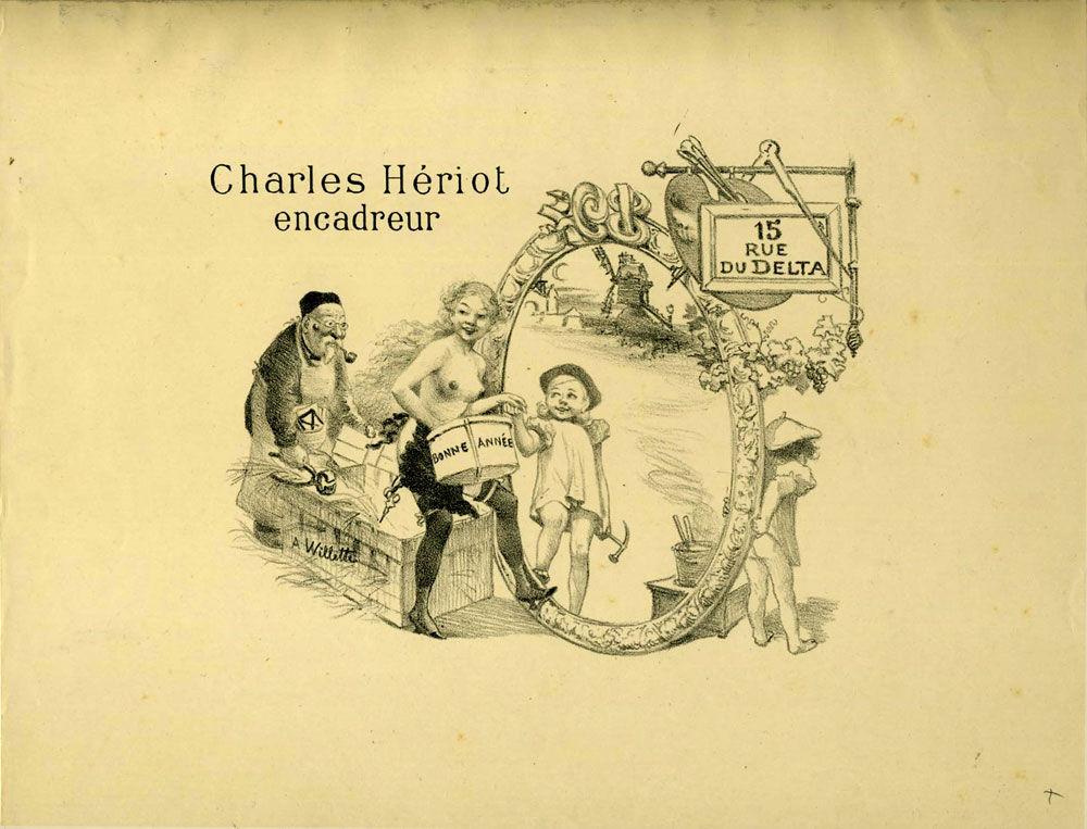 charles heriot encadreur 15 rue du delta lithograph advertisement for paris frame maker by. Black Bedroom Furniture Sets. Home Design Ideas