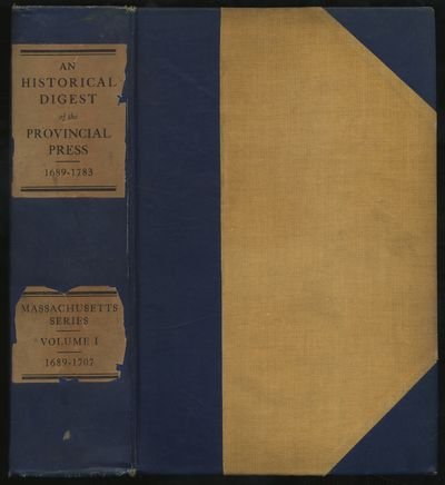 Boston: Society for Americana, 1911. Hardcover. Very Good. First edition. Massachusetts Series Volum...
