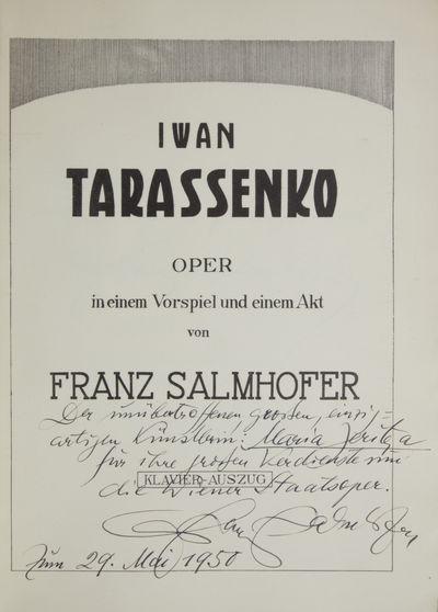 : , 1938. Folio. Publisher's original light green printed wrappers. 1f. (title), (facsimile autograp...