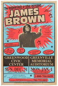 (Poster): The Godfather of Soul Returns. James Brown. Singers Bittersweet / JB Dancing Stars / Lock & Key / M.C. Danny Ray / The Soul G's