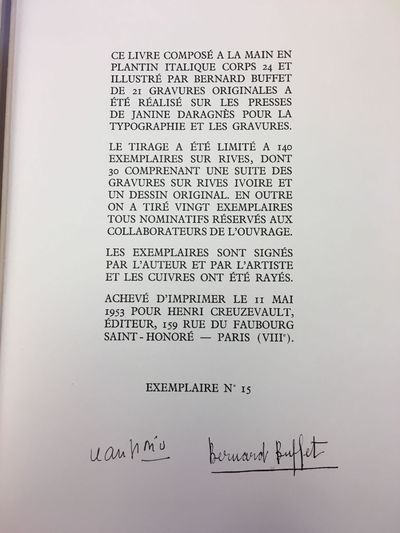 Paris: Henry Creuzevault, 1953. Limited Edition, #15/140. Hardcover. Folio (10