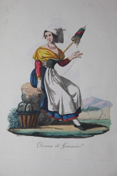 Roma, 1838. Quarter Calf. Good. N.p. 4to. 29.5 by 20.5 cm. Hand-colored illustration on title, follo...