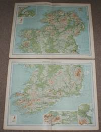 image of Map of Ireland in two sheets from the 1920 Times Atlas (Northern Section Plate 23 and Southern Section Plate 24) with small inset plans of Dublin, Belfast, Cork and Killarney