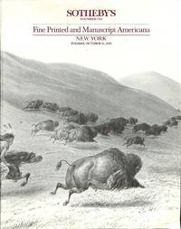 Sale 31 October 1989: Fine Printed and Manuscript Americana.