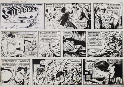 ABAA   Superman: multi-panel page of original Sunday newspaper strip