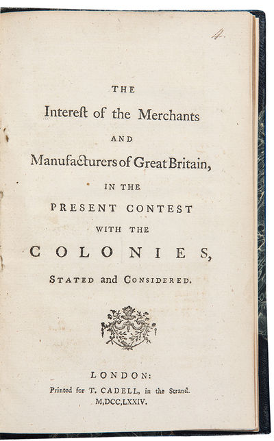 London: Printed for T. Cadell, 1774. 8vo. (7 1/2 x 4 3/4 inches). , 50pp. Modern half black morocco,...