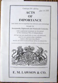 Catalogue 293, offering Acts of Importance (and some not so important but relevant and interesting)...