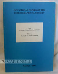 London: The Bibliographical Society, 1992. stiff paper wrappers. Vergil. 4to. stiff paper wrappers. ...