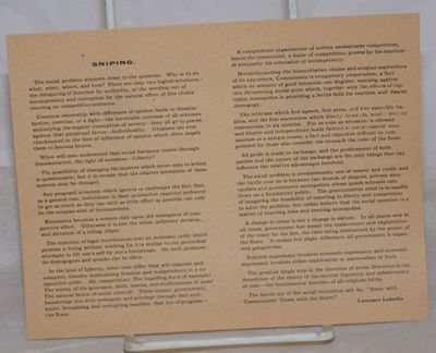 : , . Leaflet, 7x5.5 inches, printed on one side only, evenly toned else very good condition. Only o...