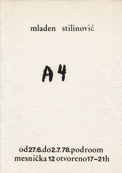1978. : 1978. Single leaf of white stock, A4, offset-printed to recto. Old horizontal crease; still ...