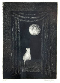 image of Cat in Window Observing a Night Moon
