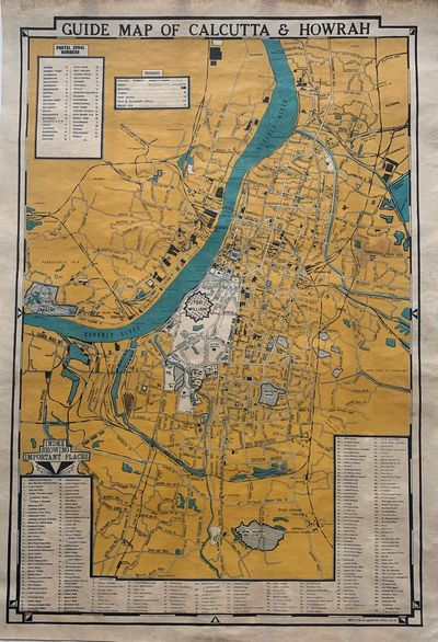 Calcutta: DIPT printing. Pocket map. Lithograph. 33 1/2 x 23 inches. In very good condition. Lined. ...