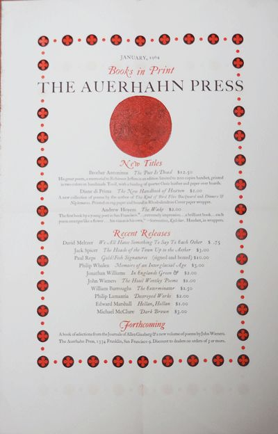 San Francisco: The Auerhahn Press, 1964. First edition. Loose Sheets. Very Good. Large single sheet ...