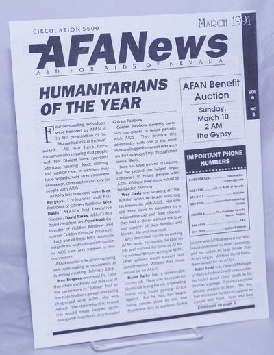 Las Vegas, NV: AFAN, 1991. 12p., 8.5x11 inches, news, reports, events, resources and services, very ...