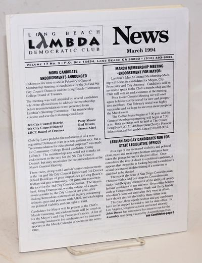 Long Beach: LBLDC, 1994. Two issues, 8p. each, 8.5x11 inches, news, voting guides, services and reso...