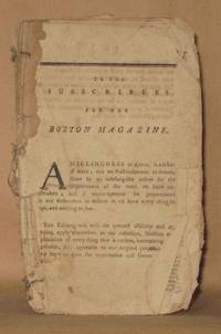 THE BOSTON MAGAZINE; OCTOBER, 1783