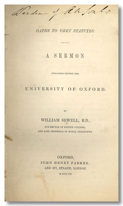 Oxford: John Henry Parker, 1852. 34pp. Octavo. Extracted from nonce pamphlet volume, without wrapper...