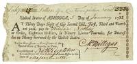 Partially printed document signed: Exchg. 18 Dollars at five Livres Tournois p. Dollar. Numb. 533. United States of America, 5 Day of January 1782