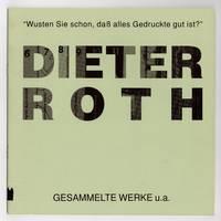 Dieter Roth [20 September-29 November 1992]
