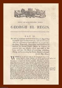 FEES IN PUBLIC OFFICES (IRELAND) ACTS, 1809-1812. An interesting selection of 4 original Acts of...