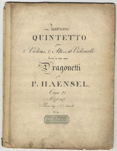 Bonn: Simrock , 1815. Folio. Unbound. Violino 1mo: (title), (blank), 3-9, (blank) pp.; Violino 2do: ...